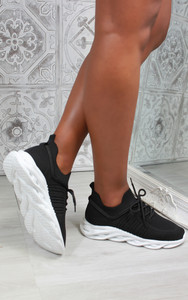 Lannie Double Lace Knitted Trainers in Black/White