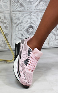 Elodie Lace Up Air Trainers in Pink