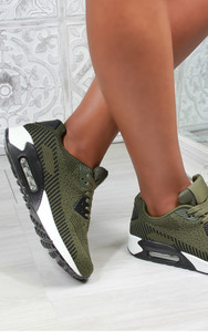 Elodie Lace Up Air Trainers in Olive