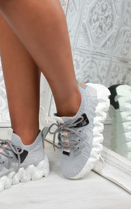 Audre Chunky Sole Knit Trainers in Grey