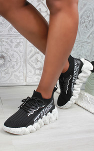 Leal Chunky Sole Knit Trainers in Black / White