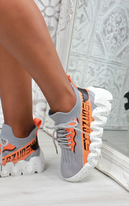 Leal Chunky Sole Knit Trainers in Grey
