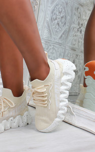 Leal Chunky Sole Knit Trainers in Beige