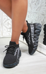 Leal Chunky Sole Knit Trainers in Black