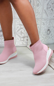 Elise Sock Knit Trainers in Pink