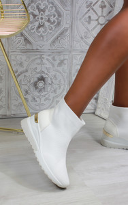 Elise Sock Knit Trainers in White