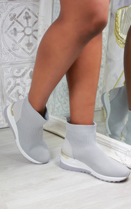 Elise Sock Knit Trainers in Grey