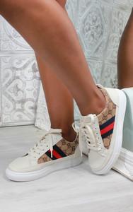 Larah Embroidered Platform Sneaker in Beige