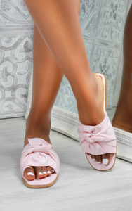 Kady Knot Flat Mule Sandals in Baby Pink
