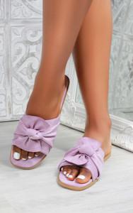 Kady Knot Flat Mule Sandals in Purple