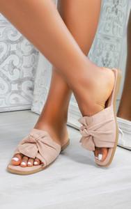 Kady Knot Flat Mule Sandals in Nude