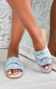 Kady Knot Flat Mule Sandals in Blue