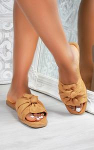 Kady Knot Flat Mule Sandals in Camel