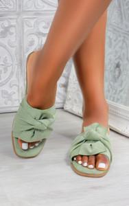 Kady Knot Flat Mule Sandals in Olive