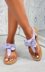 Saffron Bow Flat Sandal in Purple