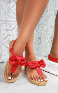 Saffron Bow Flat Sandal in Red