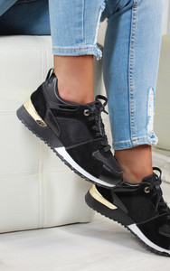 Saoirse Multi Panelled Trainers in Black