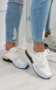 Saoirse Multi Panelled Trainers in White / Grey
