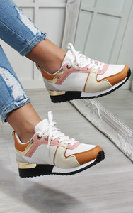 Saoirse Multi Panelled Trainers in White / Yellow