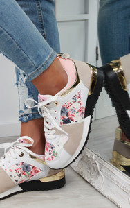 Saoirse Multi Panelled Trainers in Floral