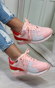 Saoirse Multi Panelled Trainers in Pink