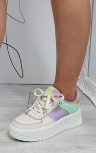 Aria Colour Block Trainers in Beige / Purple