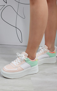 Aria Colour Block Trainers in White / Pink