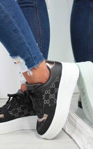 Darcia Embroidered Platform Sneaker in Black