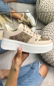 Darcia Embroidered Platform Sneaker in Beige