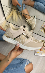 Mila Embroidered Lace Up Trainers in Beige