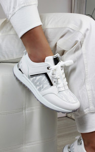 Mila Embroidered Lace Up Trainers in White