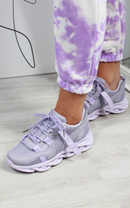 Tamika Chunky Panelled Trainers in Purple