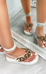 Kina Chain Thong Lace Up Platform Gladiator Sandals in White