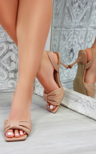 Alanis Bow Heeled Mules Sandals in Nude