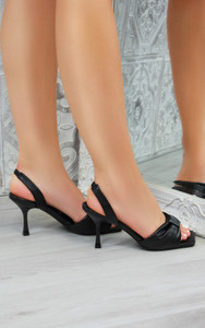 Alanis Bow Heeled Mules Sandals in Black