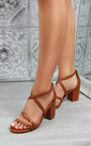 Lanah Strappy Heeled Sandals in Camel