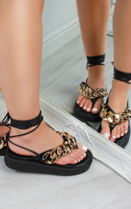 Kina Chain Thong Lace Up Platform Gladiator Sandals in Black