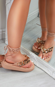 Kina Chain Thong Lace Up Platform Gladiator Sandals in Nude
