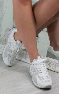 Mica Printed Lace Up Trainers in White