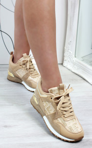 Mica Printed Lace Up Trainers in Beige
