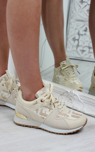 Mica Printed Lace Up Trainers in Nude
