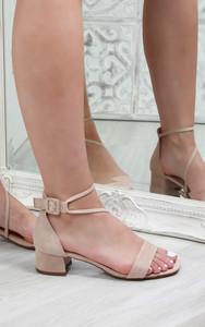 Sophi Low Heel Suedette Sandals in Nude