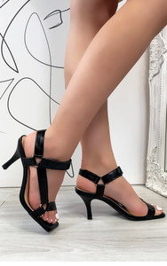 Lina Strappy Heeled Sandals in Black