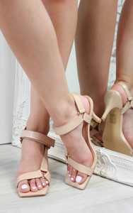 Lina Strappy Heeled Sandals in Nude