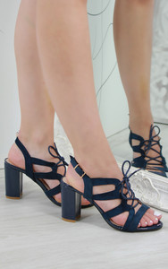 Lotte Strappy Lace Up Heeled Sandals in Navy