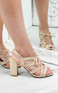 Lotte Strappy Lace Up Heeled Sandals in Nude