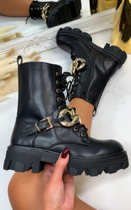 Anisa Chunky Sole Biker Boots in Black