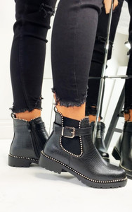 Olivia Buckle Ankle Boots in Black Croc Print