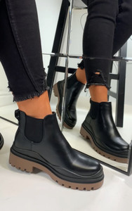 Kaori Contrast Sole Chelsea Ankle Boots in Brown