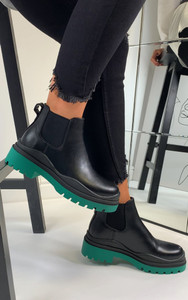 Kaori Contrast Sole Chelsea Ankle Boots in Green